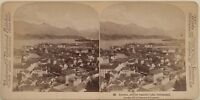 Panorama Da Lucerna Suisse Foto Stereo Vintage Albumina 1897