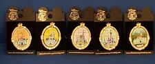 Disney Park Castles Stained Glass Window - Jewel Pins set of 5 DLR, WDW, TDL
