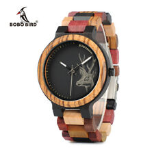 BOBO BIRD Elk Deer Colorful Wooden Watch for Men Women Natural Wood Band Watches