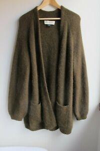 By Malene Birger, Denmark, wool & poly olive green long open cardigan Size S-SM
