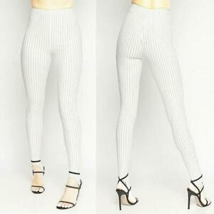 Haute Goth Women Ivory Pinstripes Fitted Stretchy Flattering Stirrup Pants S M L