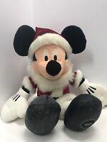 "Mickey Mouse Christmas Santa plush Disney Store Exclusive Stuffed Animal 14.5"""