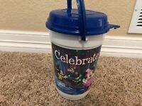 Disney Parks Popcorn Bucket Celebrate The Season Blue Sparkle Lid and Handle