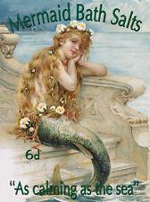 Mermaid Bath Salts Tin Sign - 12x16