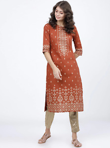 Indian Women New BEAUTIFUL Rust Orange Ethnic Motifs Printed Cotton Kurta Kurti