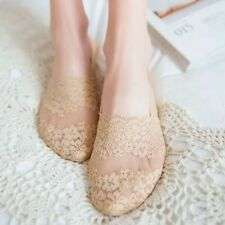 1 Pair Low Cut Lace Socks Invisible Lacey Socks with antiskid silicone (Beige)