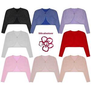 Girls Shrug Bolero Cardigan Glitter Effect Knitted Long Sleeve Kids Tops Lurex