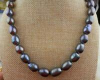 gorgeous 11-14mm natural tahitian black pearl necklace 18inch 925silver
