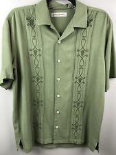 Tommy Bahama Mens M Medium 100% Silk Button Down Shirt Palm Tropical Hawaiian