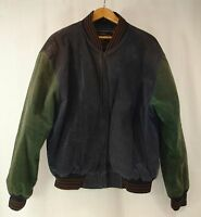 Vintage Varsity Suede Leather Blue Green Arm Patch Full Zip Jacket XL