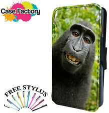 FUNNY HAPPY BABOON MONKEY - Leather Flip Wallet Phone Case Cover