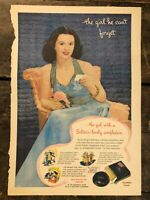 RARE Vintage 1945 SOLITAIR Make-up AD 10.75 x 15 inch COLOR Debutante Frame It!