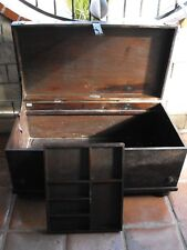 South Cone Large Country Rustic Leather & Mahogany Storage Trunk Chest MUST SEE!