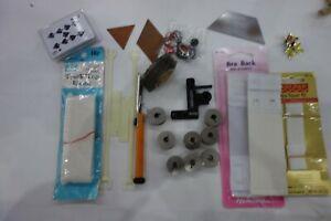 Vintage Sewing Bits and Bobs,Trunk top Elastic 16p bra repair kit,bobbins,