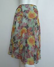 KEW by JIGSAW floral silk skirt size 14 --BRAND NEW-- knee length 100% silk