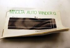 Minolta Auto Winder G Motor Drive Instruction Manual Guide EN free shipping USA