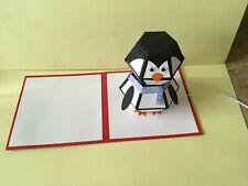 Handmade Surprise Penguin Christmas pop up card..Can be personalised