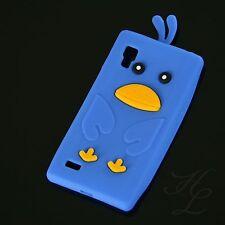 LG P760 Optimus L9 Silikon Handy Case Schutz Hülle Etui Schale Chicken Blau 3D