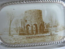 Antique Real Photo Glass Paperweight-Old Stone Mill Viking Tower Newport RI-RARE