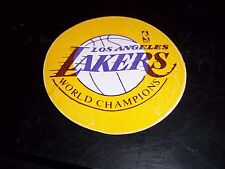 "RARE 1972 LOS ANGELES LAKERS WORLD CHAMPIONS STICKER 3"" dia DECAL MUST SEE L@@K*"