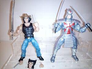 """Marvel Legends 6"""" X-MEN SILVER SAMURAI & cowboy Wolverine action figure lot"""