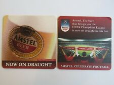 Cool Beer Coaster ~ AMSTEL Draught, Celebrate Football, UEFA Soccer Champions