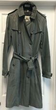 Burberry London Gray Leather Belt Double Breasted Trench Coat Jacket Sz IT 40 6
