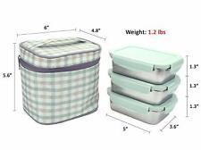 Airtight Lunch, Bento Box Stainless Steel Containers with bag, 340mlx3, BPA free