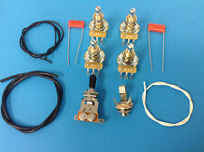 Guitar Wiring Kit For Gibson Les Paul Long Shaft Pots, CTS Pots Orange Drop Caps