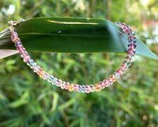 "Topaz Gemstone Bracelet strand Beautiful colorful beaded gems real 18k gold 7.5"""
