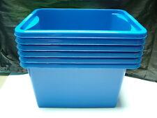6 X Bleu Foncé PLASTIQUE Empilage Boîtes de Rangement,30 Litres / 45cm (45.7cm),