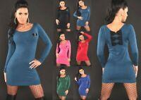 Miniabito Donna Pullover Lungo Vestito in Maglia ISF B598 Abito Tg Unica S/M