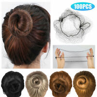 100PCS Invisible Hair Nets Bun Cover Elastic Edge Mesh Hairnet Stretch Cap Black