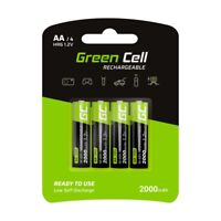 Green Cell 2000mAh 1.2V Lot de 4 piles Rechargeables Ni-MH Type AA, HR6 Pile