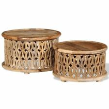 vidaXL 243975 Solid Mango Wood Coffee Table Set - 2 Piece, Brown