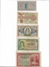 ESPAÑA: LOTE DE 5 BILLETES II REPÚBLICA 1935-1937. RC+BC-. EXCELENTES PIEZAS.