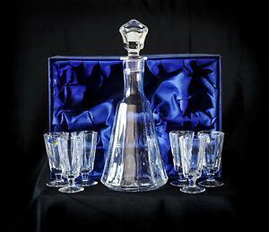 Set of Crystal Decanter + 6 Shot Glasses for Vodka Cognac, Whiskey. Hand made
