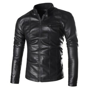Men's Faux Leather Jacket Stand collar Long sleeve Slim Fit Motorcycle Outdoor L