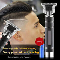 Electric Cordless Close Cutting T-Blade Trimmer Rechargeable Hair Clipper Set UK
