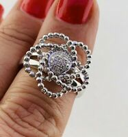 Natural Diamond Flower Swirl Ring in Sterling Silver Sz 6.5  #44