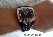 fette, geile Police Herrenuhr/Männeruhr Nieten-Armband schwarz #13634 XXL