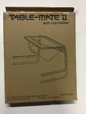 Table Mate II Adjustible Folding TV Tray with Cup Holder Silver Furniture