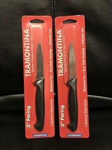 """Tramontina Plastic Handle Paring Knife 3"""" Carbon Micro-Serrated Carded (2 Pack)"""