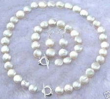 Necklace Bracelet Earring Set 11-12Mm White Coin Pearl