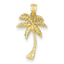 SOLID 14k Gold 26.5mm Palm Tree Pendant