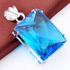Holiday Gift Huge Rectangle London Blue Topaz Gemstone Silver Necklace Pendant