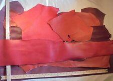 Leather Hide Panel Scrap 3-1/2 Lb Red Paprika Sienna Nubuck Embosed Cowhide #M23