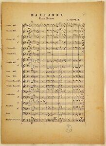 SPARTITO ORCHESTRA MARIANNA MARCIA MILITARE PER BANDA G. CAPPELLI 1890 CIRCA