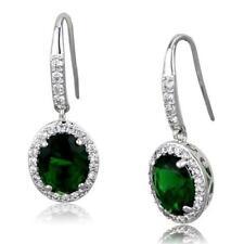 3769 OVAL EMERALD GREEN DANGLE DROP CUT EARRINGS SIMULATED DIAMONDS CLASSY
