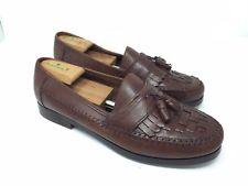 Men's Giorgio Brutini Classics Size 13W Brown Leather Woven Loafers Kilt Tassels
